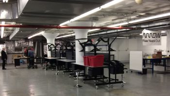 Boston startups can rent benches in MassRobotics' space.