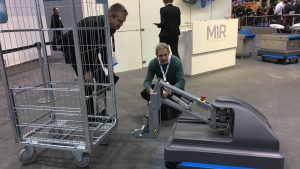 Mobile robots such as MiR200 proliferated at Automate and ProMat 2017.