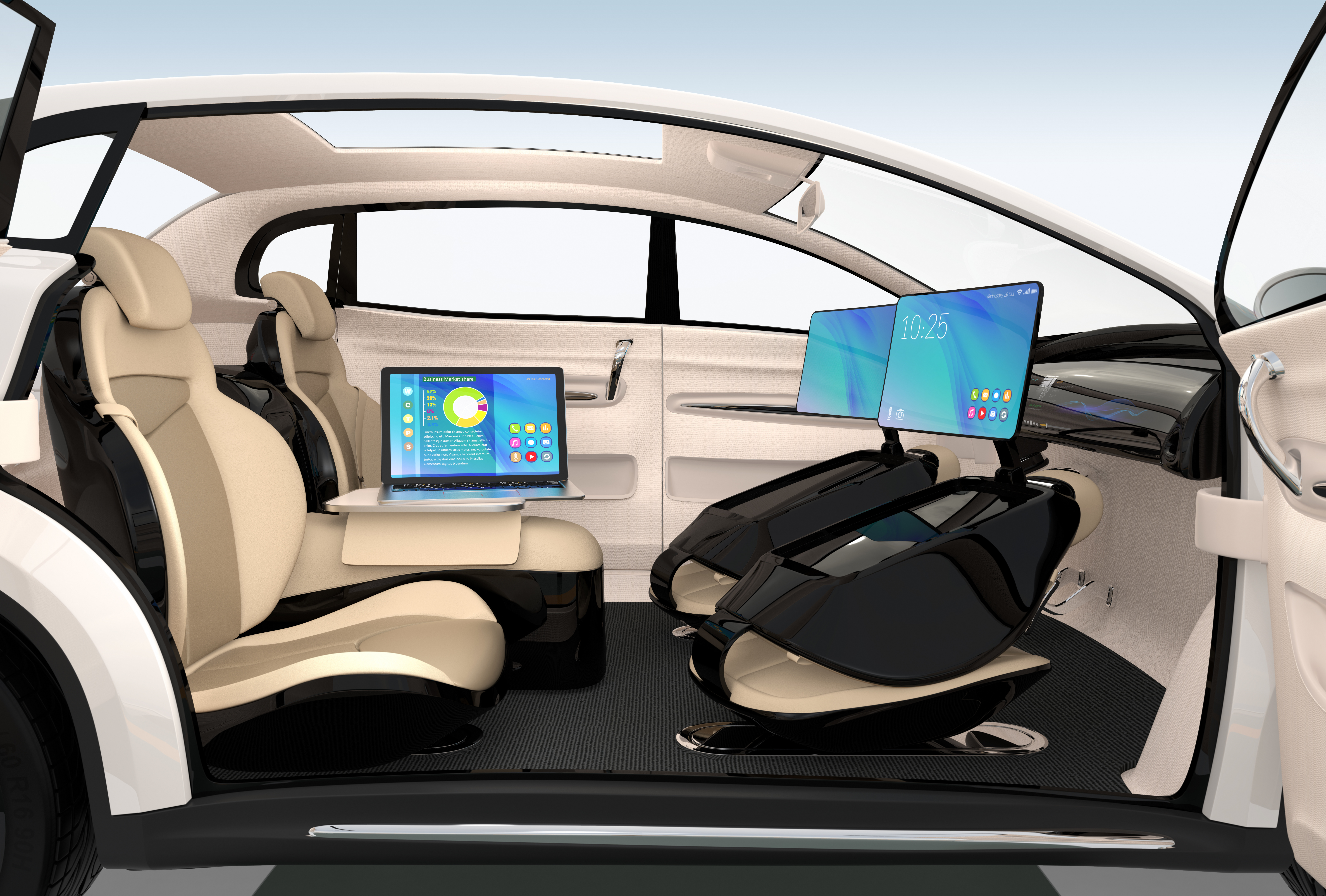 self-driving car interior concept super bowl drones article